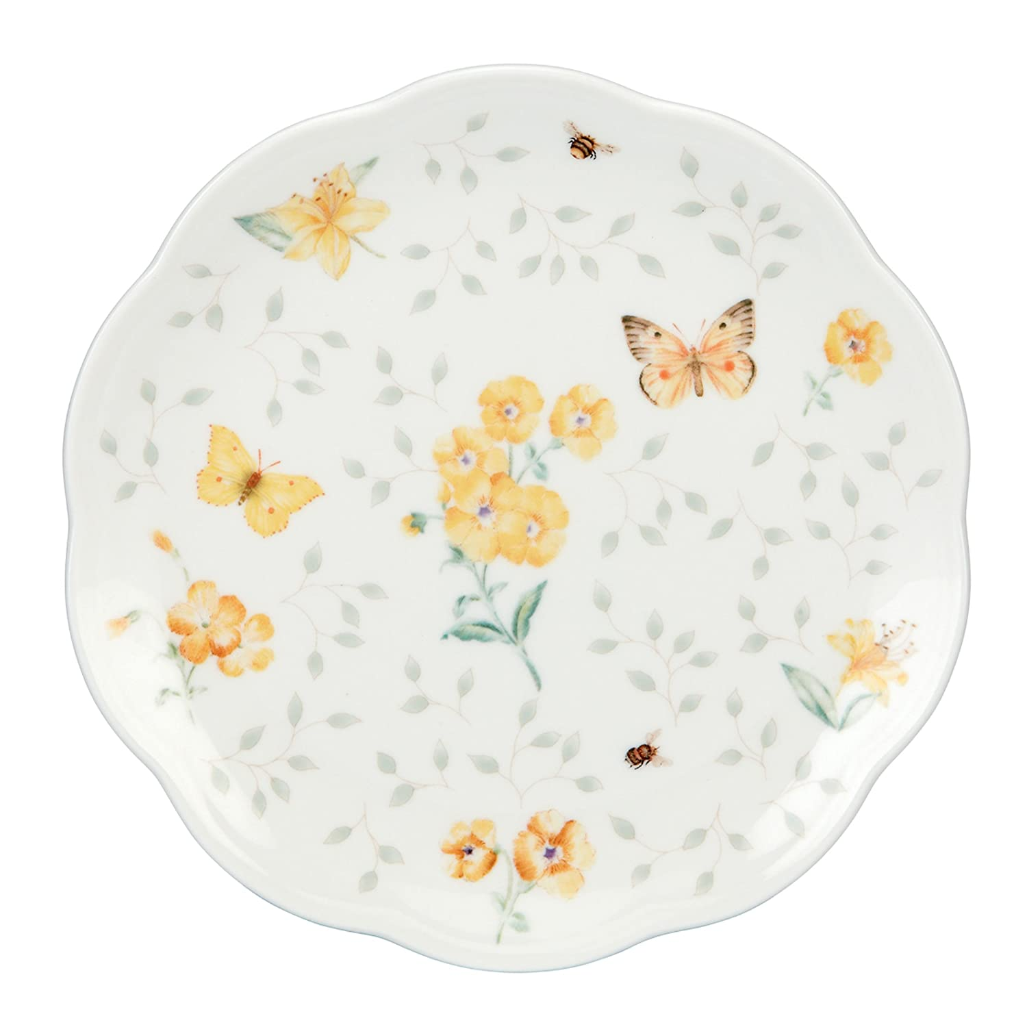 Lenox Butterfly Meadow Dessert Plates, 8-Inch, Assorted Colors, Set of 4, White - 829050