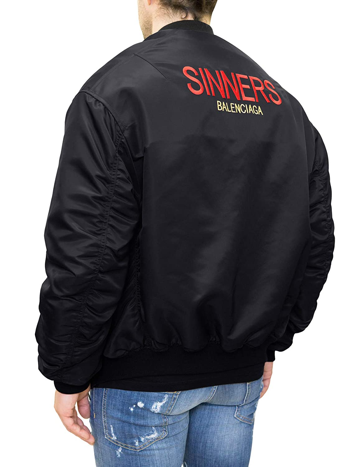 Balenciaga Sinners Bomber Aviator Jacket (FR44) Black at ...