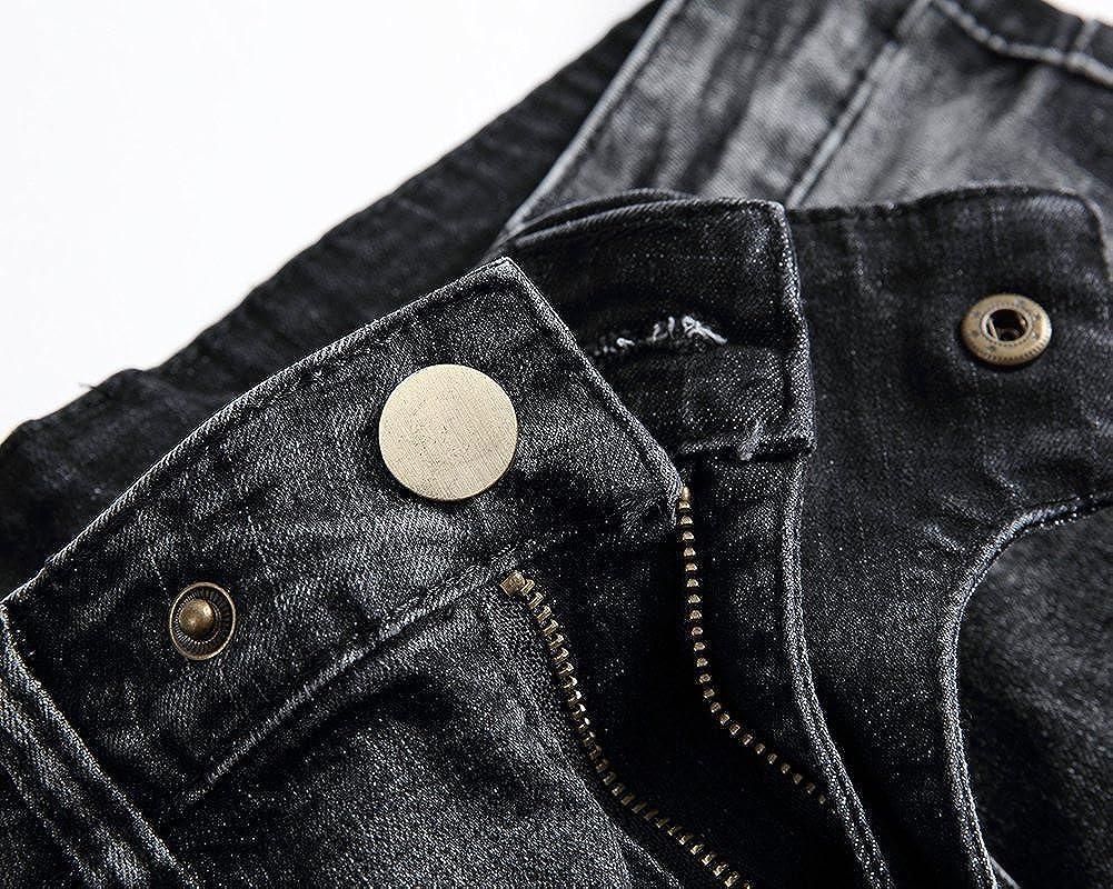 ShiFan Uomo Casuale Distrutto Jeans Strappato Destroyed Denim Sdrucito Biker Pantaloni