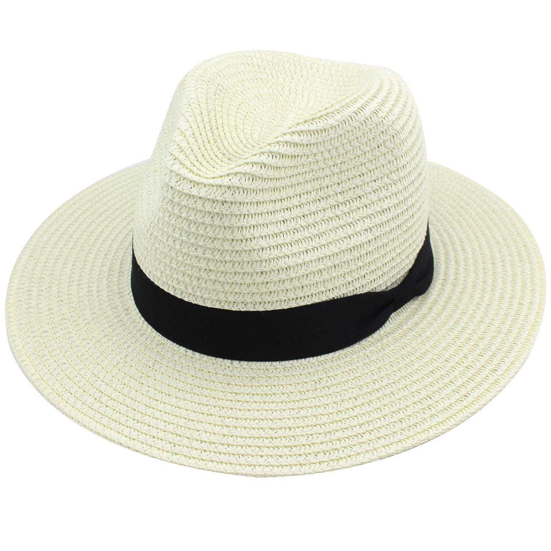 YUUVE Panama Hat Sun Hats for Women Wide Brim Straw Fedora Foppy Beach Hat UPF 50+ Beige
