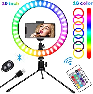"10"" Desktop Selfie Ring Light with Tripod Stand and Phone Holder, Halo RGB LED Lights for Live Stream Makeup YouTube Video Shoot Photography, 16 Color Table Light Compatible with iPhone Android"