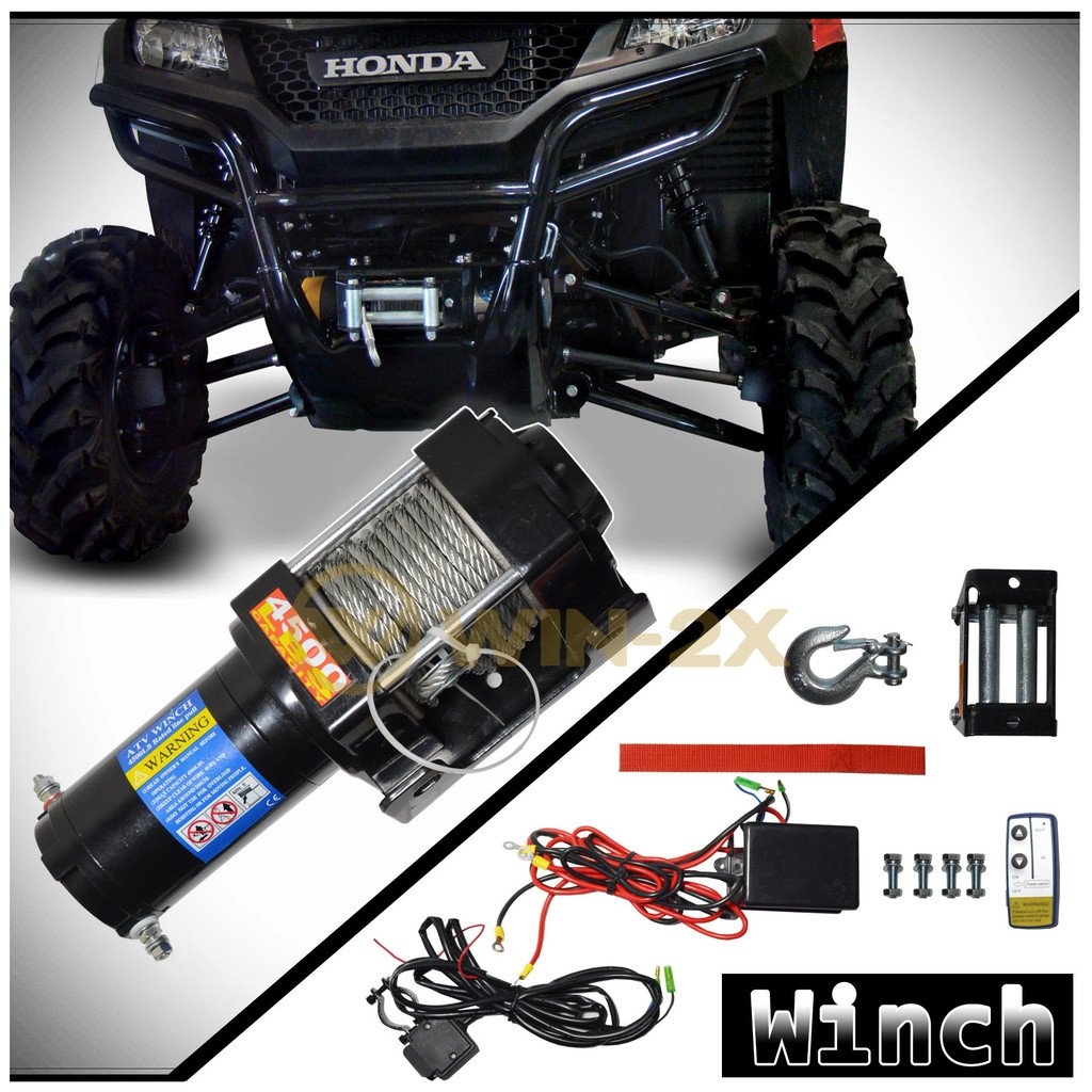 WIN-2X 1pc Brand New Universal DC 12V 4500lb Capacity Electric Waterproof Recovery Winch Kit With Mounting Plate & Wireless Remote Control Switch For ATV UTV Plow Boat Car & More Applications