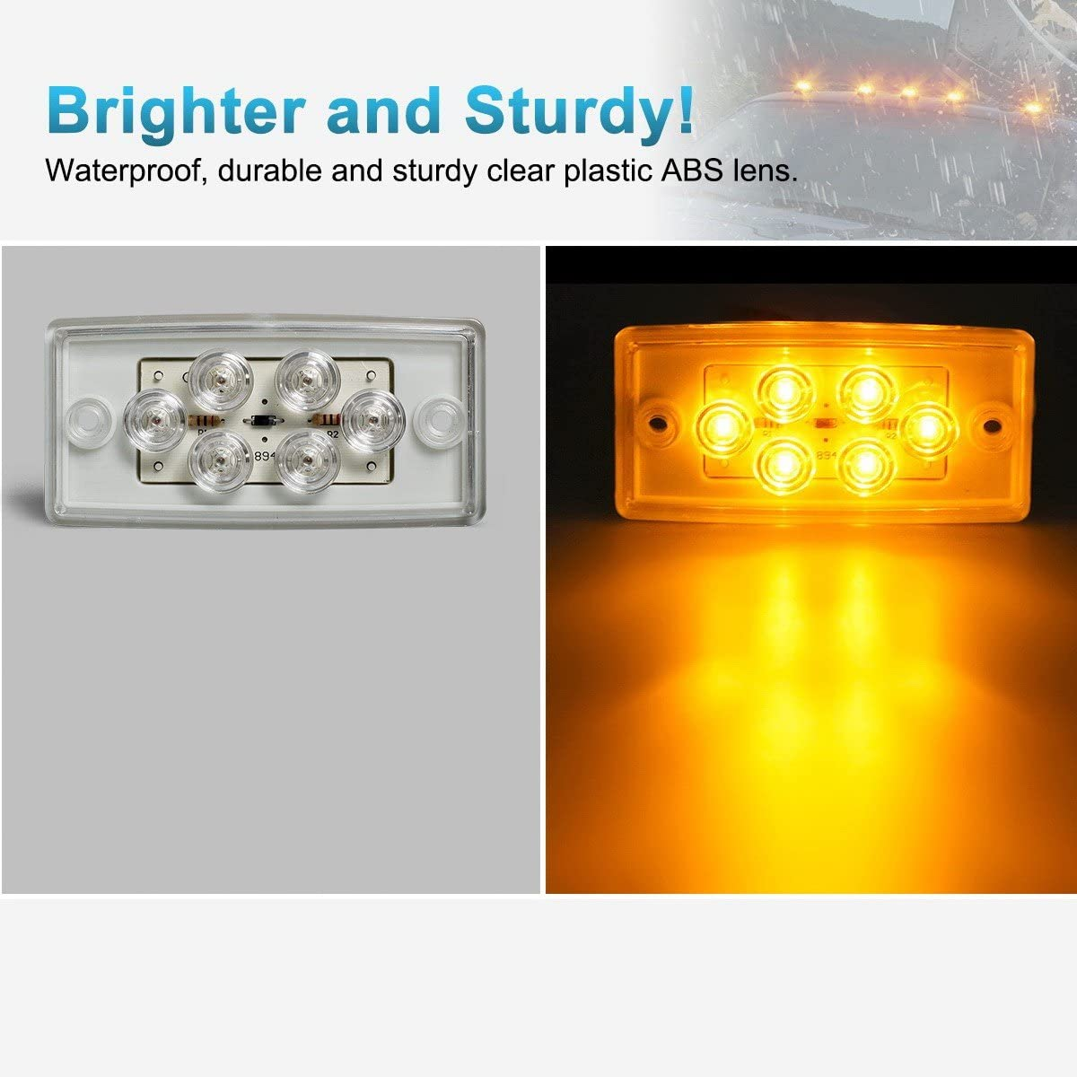 NPAUTO 5pcs Freightliner Cab Lights 6 LED Amber Roof Clearance Marker Light Rectangle Top Running Light for Freightliner Century Columbia Volvo Truck Trailer Camper Waterproof, Flush Mount