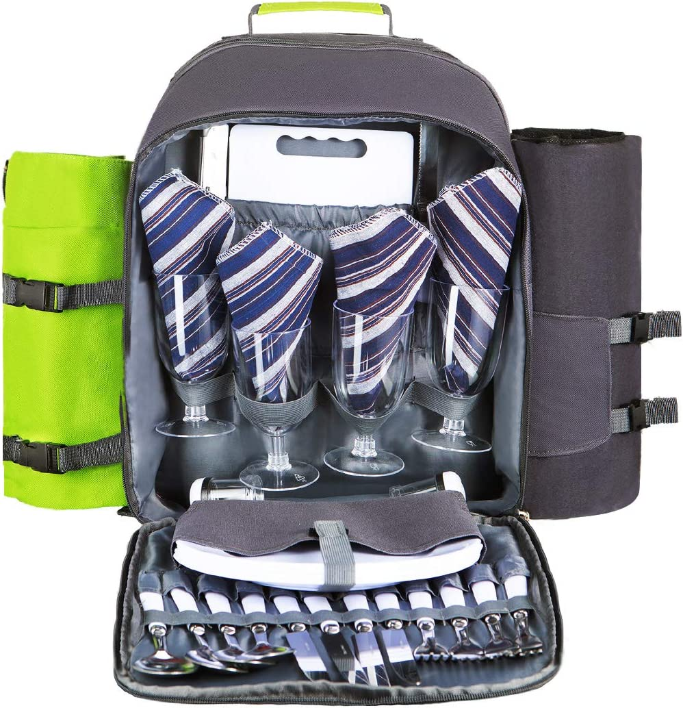 HOMAKER Picnic Backpack for 4 Person Set Pack withLarge Insulated Cooler Compartment, Waterproof Fleece Blanket for Family Outdoor Camping – Green