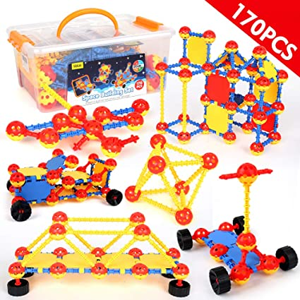 LBLA STEM Building Toy Sets for Boys and Girls Age 3 4 5 6 7 8 9 10 Year Old STEM Learning Toys Creative Fun Educational Construction Engineering Toy Gift for Kids Blocks Game Kit (170 Pieces)