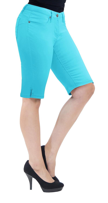 e9b59471c4 HyBrid & Company Womens 11.5 inch Inseam Butt Lift Stretch Bermuda Shorts |  Amazon.com