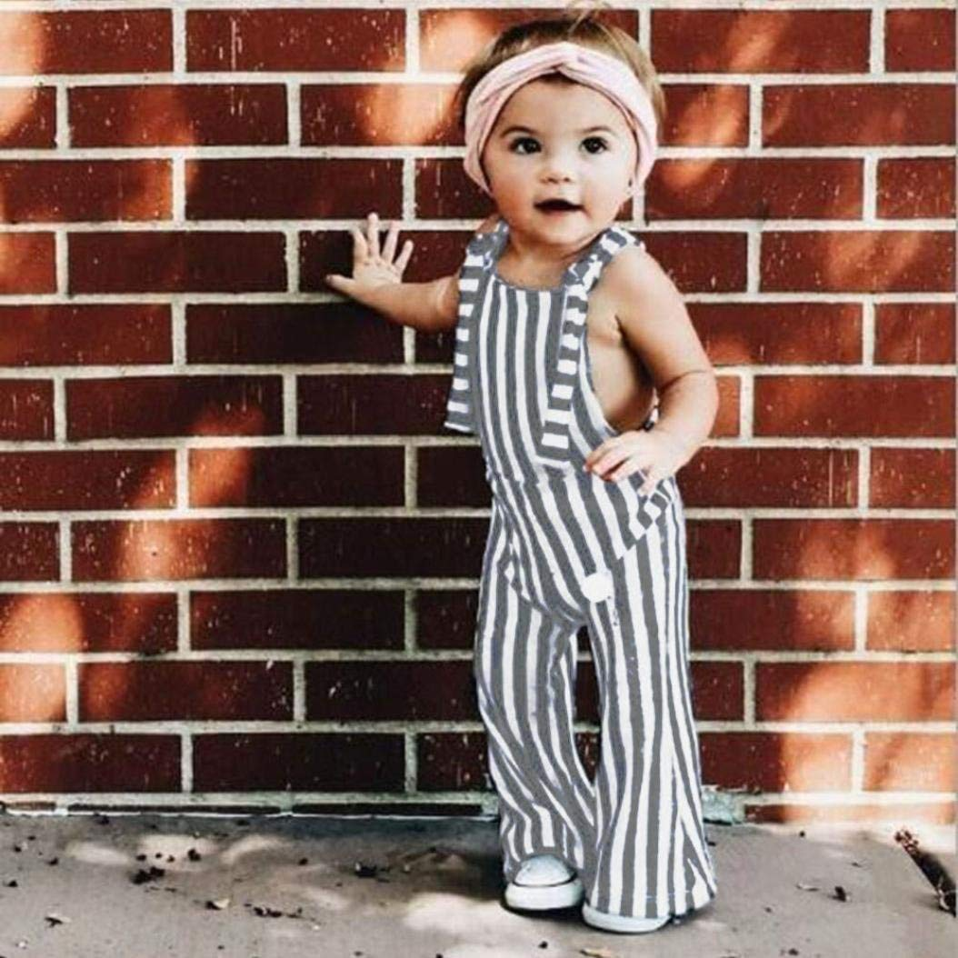 Fashion Toddler Baby Outdoor Playwear Clothes Set Toddler Baby Girls Striped Backless Strap Overall Jumpsuit LongTrousers