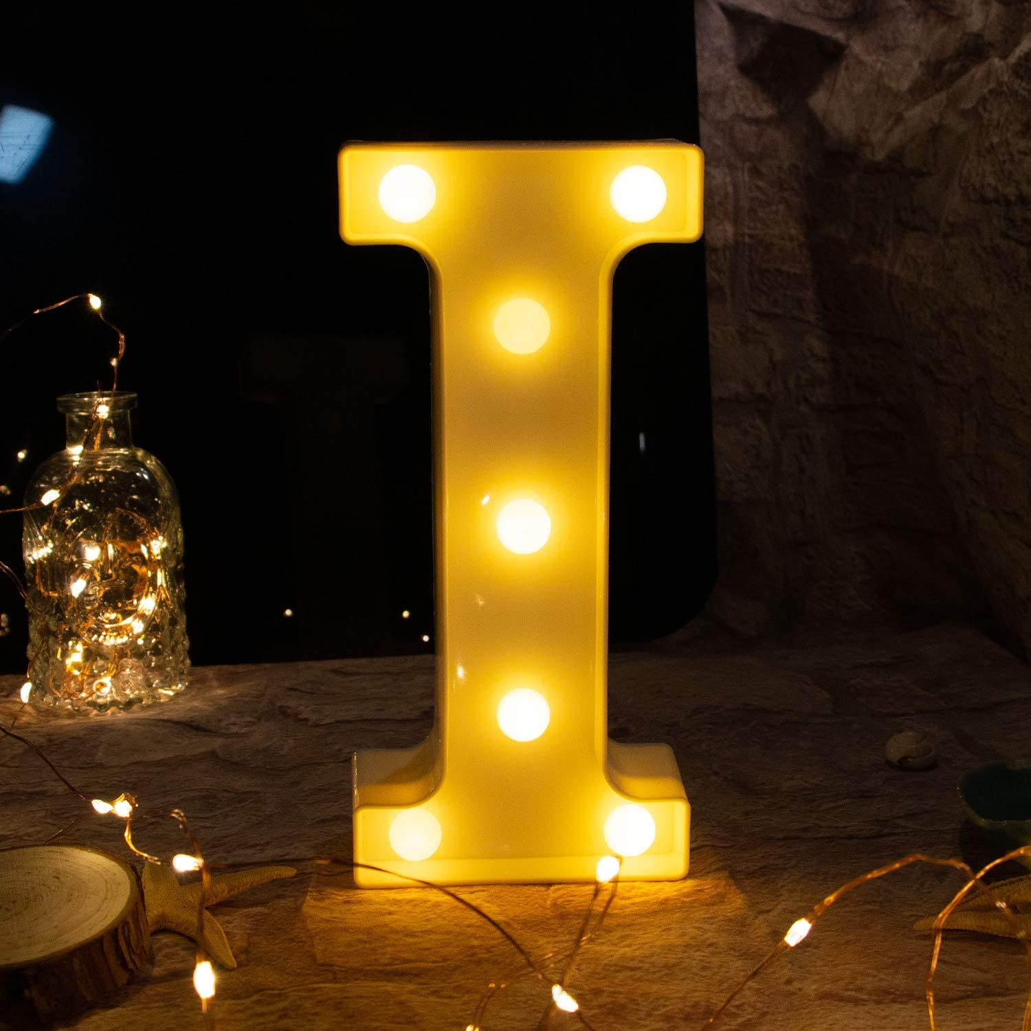 Brightown Decorative LED Marquee Letter Lights 26 Alphabet Light Up Letters Sign for Wedding Birthday Party Night Light Home Bar Decoration Battery Operated (I)
