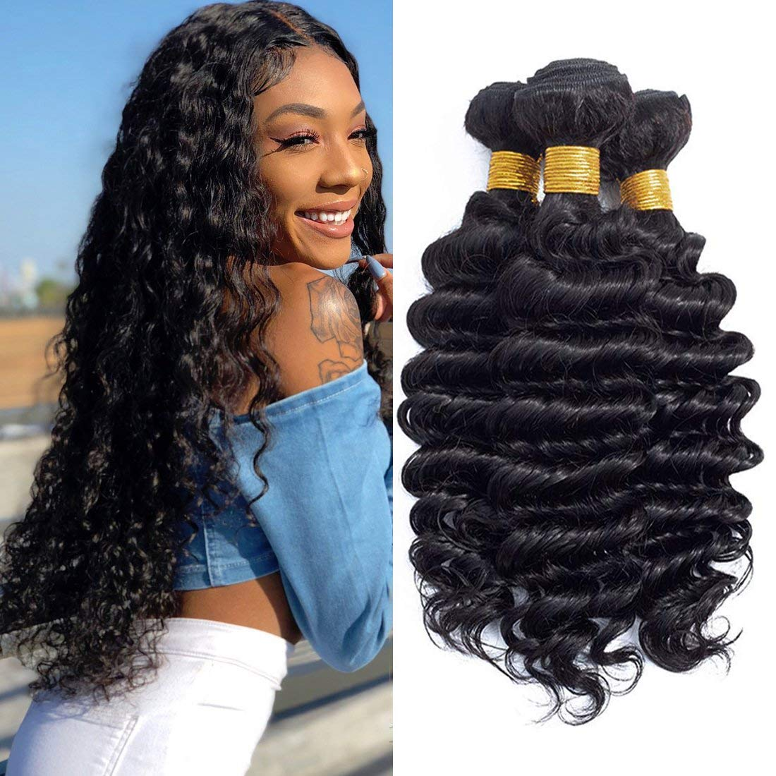 Amazon Com Newness Brazilian Deep Wave Hair 30 Inch 100 Unprocessed Virgin Human Hair Weave Bundles Deep Curly Wave Hair Extensions 1 Bundle Natural Color Beauty