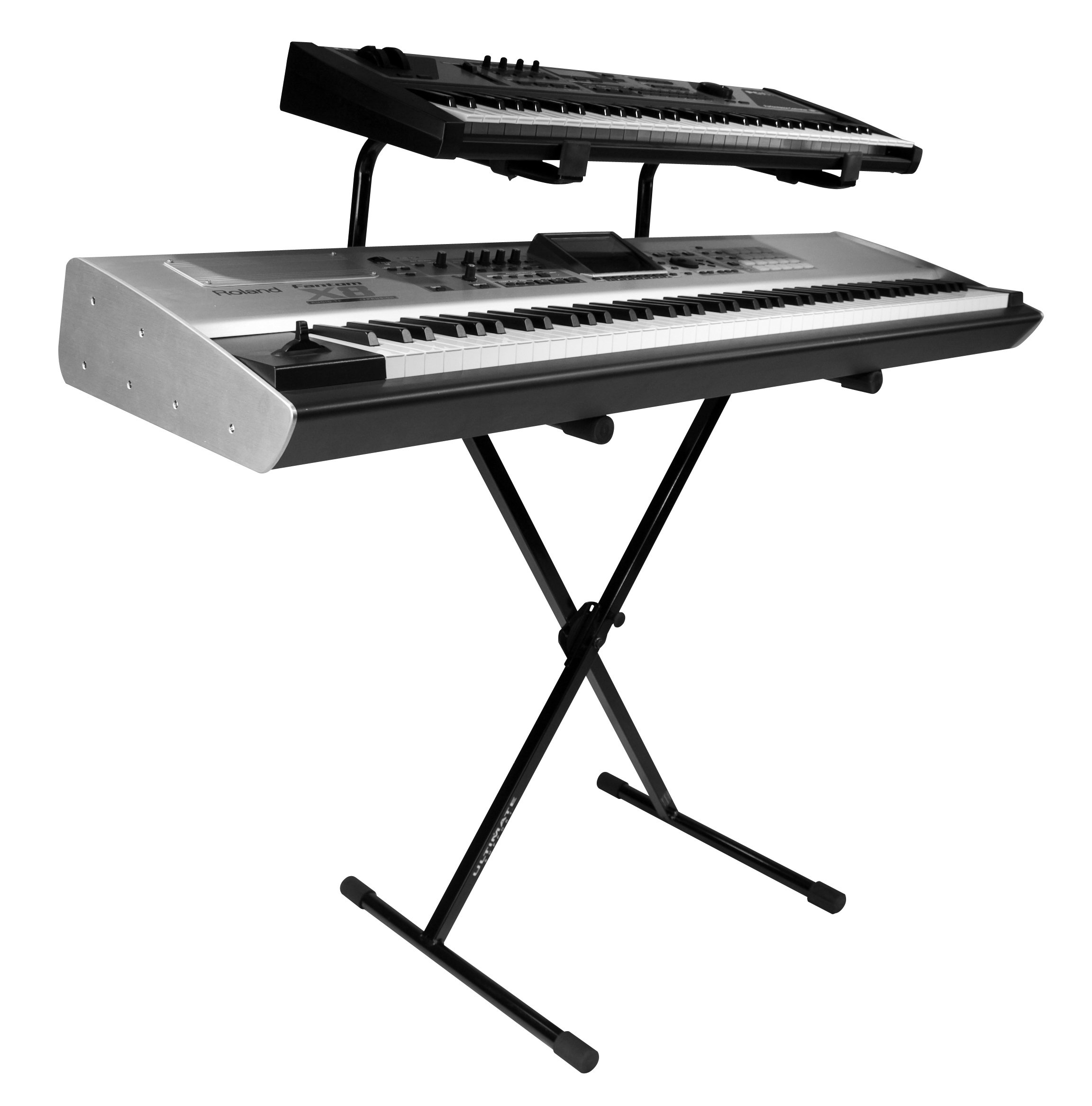 Ultimate Support IQ-1200 Two Tier X-style Single Braced Keyboard Stand with 5 Height Settings, Stabilizing End Caps