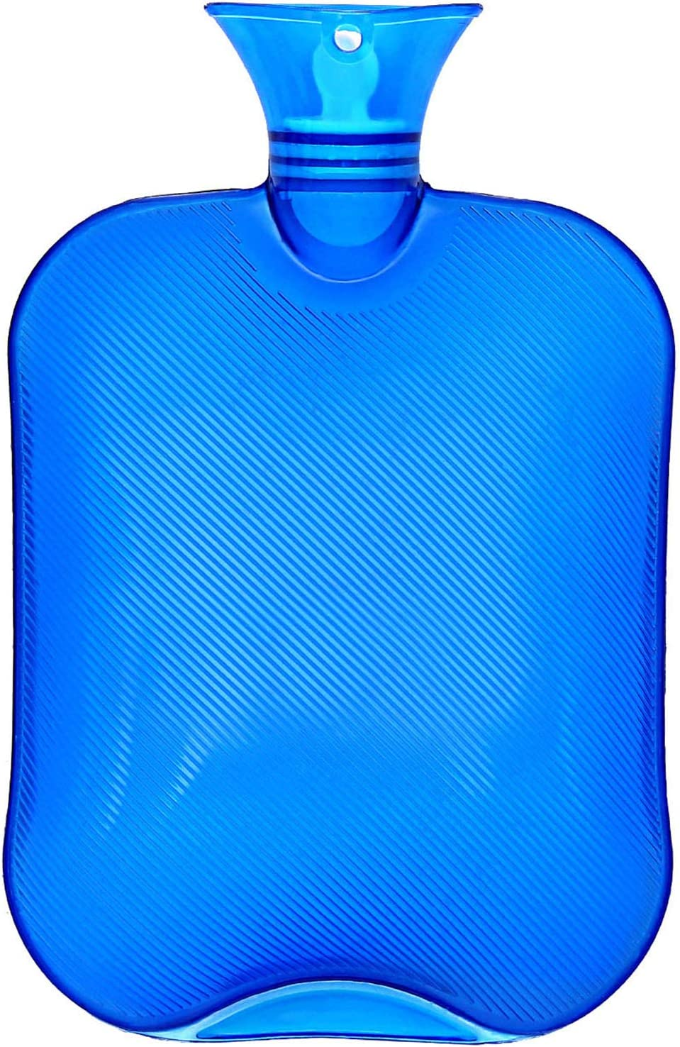 Hot Water Bottle, Ohuhu 2L Classic Premium Transparent Hot or Cold Water Bag for Pain Relief Hot Pack Therapy 2000ml 68oz, Blue, Home and Outdoor