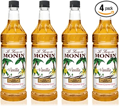 Amazon Com Monin Vanilla Syrup Versatile Flavor Great For Coffee Shakes And Cocktails Gluten Free Vegan Non Gmo 1 Liter 4 Pack Beverage Flavoring Syrup Grocery Gourmet Food