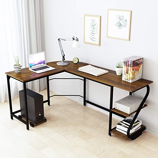 WeeHom Modern Corner Computer Desk L Shaped Desk with Shelves, Reversible  Gaming Corner Desks for Home Office, Wood & Metal