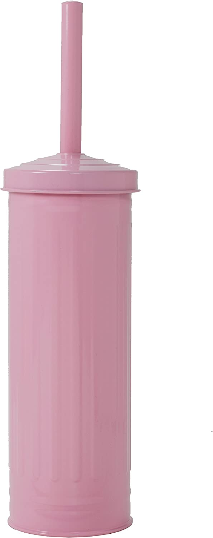 Elaine Karen Deluxe Retro Galvanized Steel Toilet Brush - Pink