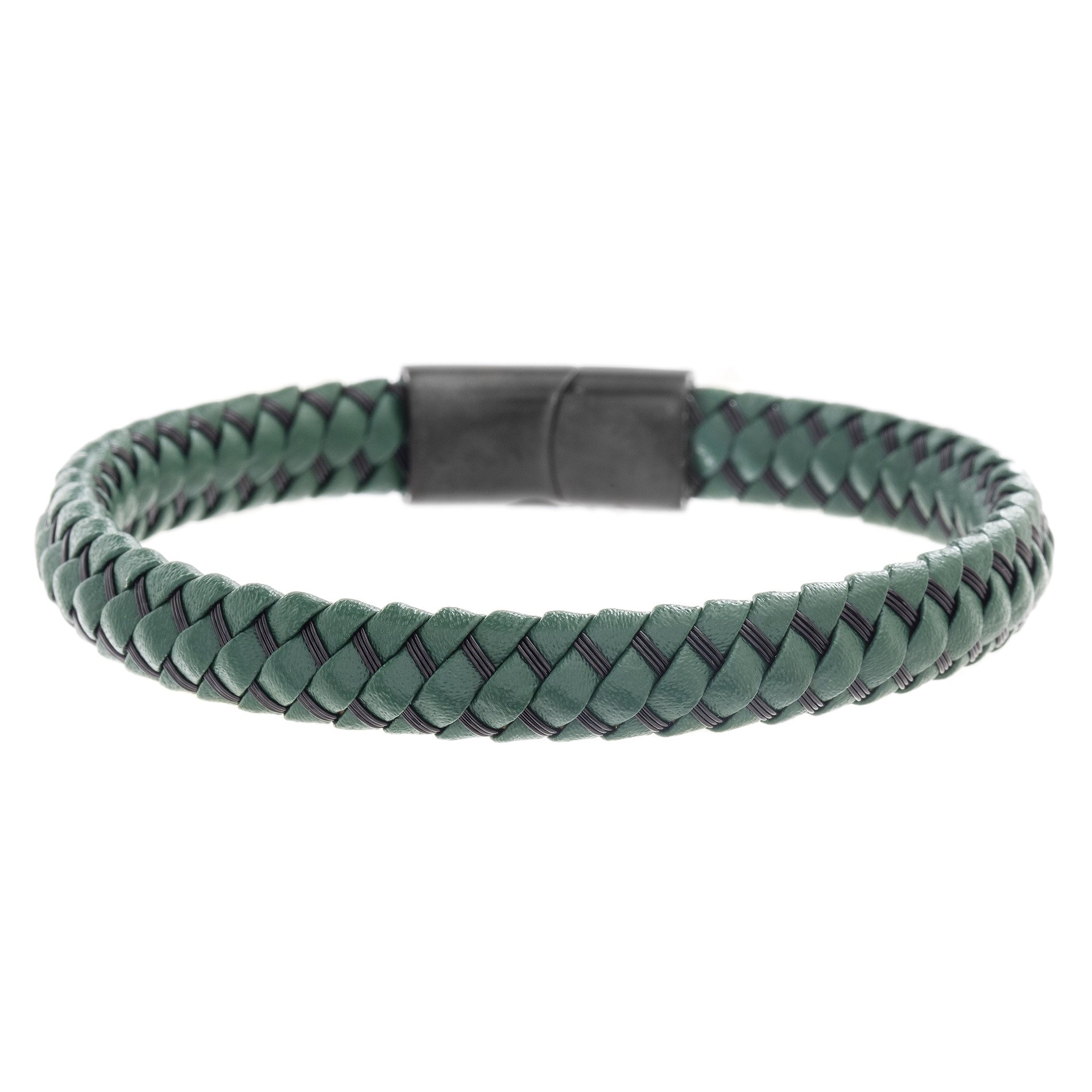 Ben Sherman Men's Black Wired Green Leather Braided Bracelet with Stainless Steel Closure, 7.5
