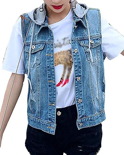 Mujer Chaquetas De Mezclilla Sin Mangas Slim Fit Encapuchado Chaleco Vaqueros Vintage Fashion Elegantes Casuales Lindo Chic Talla Grande Denim Chaleco Corto ...