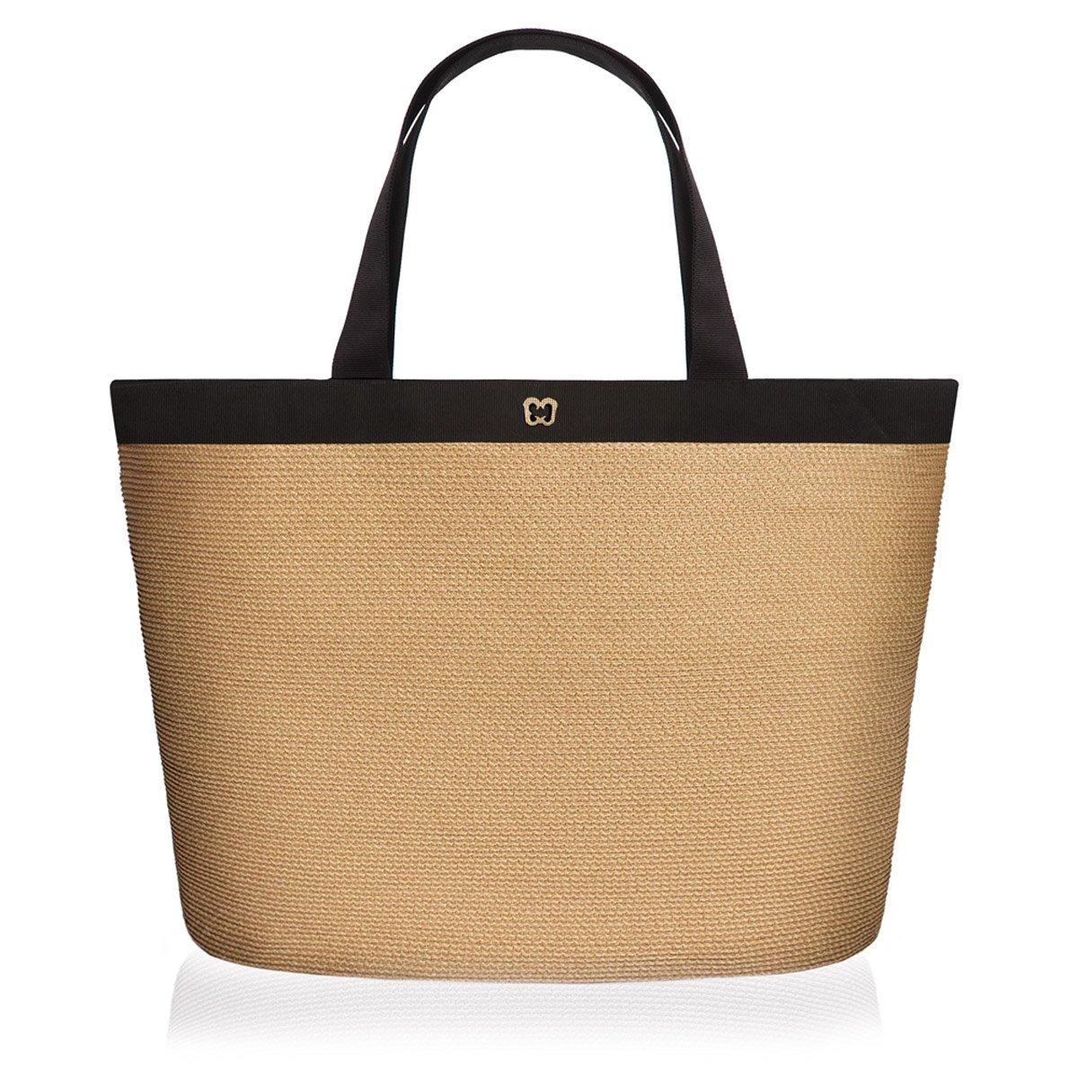 Eric Javits Luxury Fashion Designer Women's Handbag - Dunemere - Natural/Black