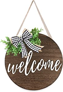 Welcome Sign Front Door Decor, Outdoor Rustic Wood Welcome Wreaths Porch Hanging Vertical Sign Farmhouse Home Christmas Decorations