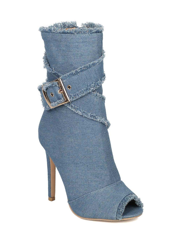 Alrisco Women Denim Peep Toe Frayed Stiletto Ankle Boot HC44 - Blue Denim (Size: 9.0)