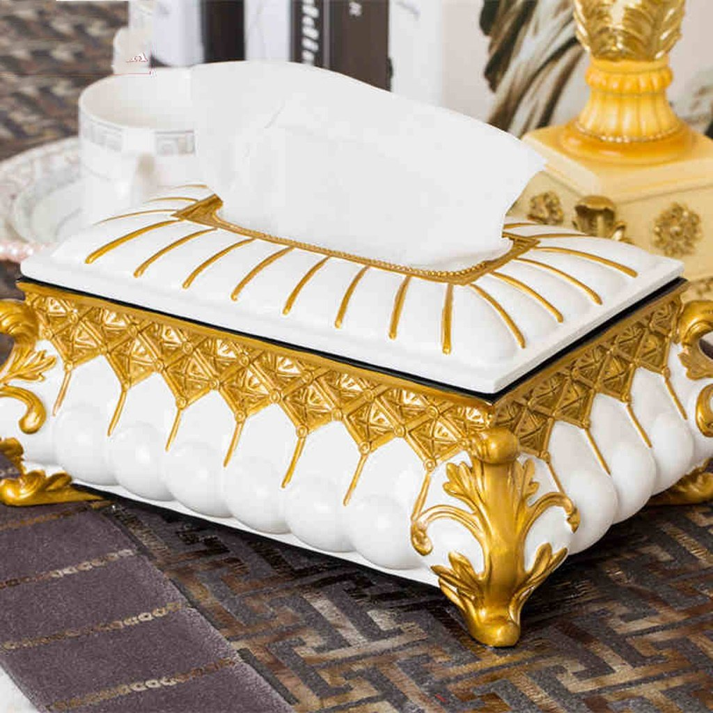 Tissue Box HOME European resin tray pumping creative paper towel tube retro home living room upscale luxury fashion (Color : Gold)