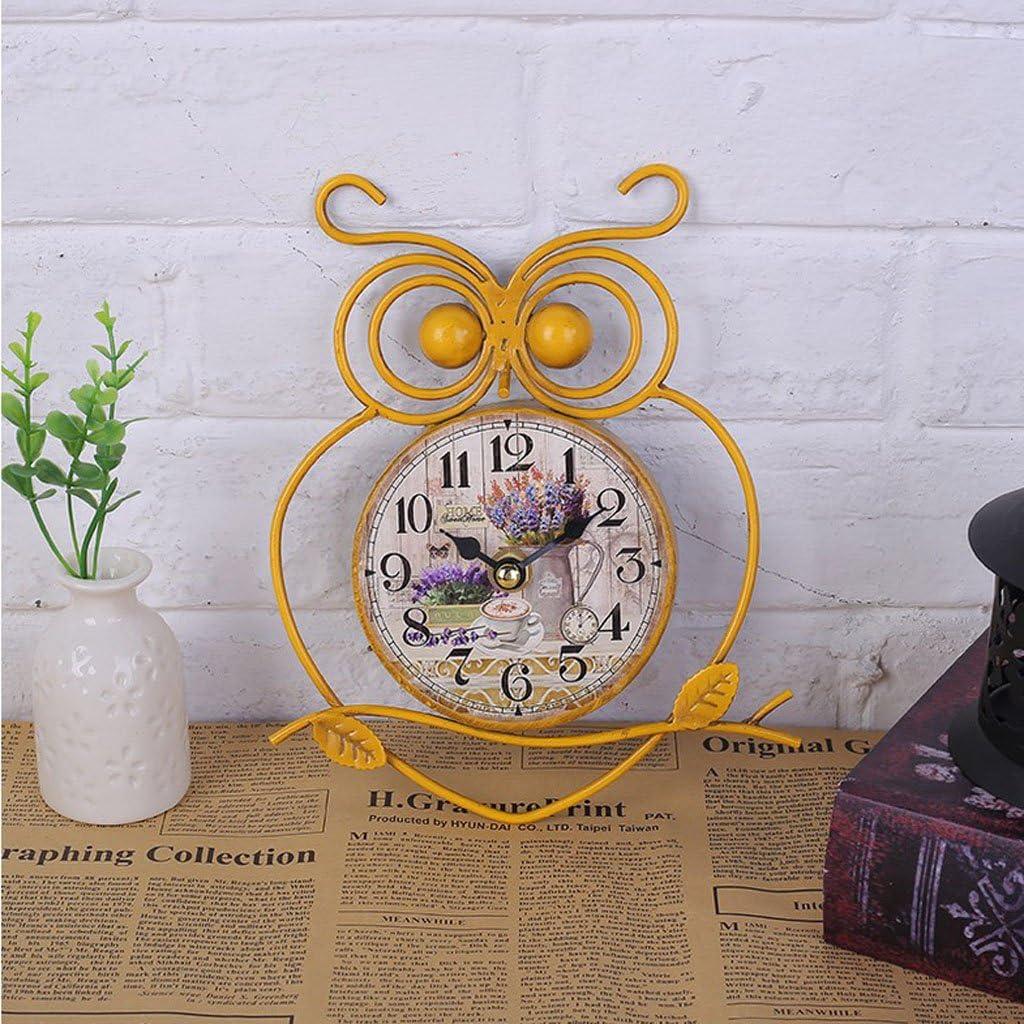 MagiDeal Horloge Murale De Chouette De Fer Muet Silencieuse D/écorative Cadran-Horloge D/écoration De Maison blanc