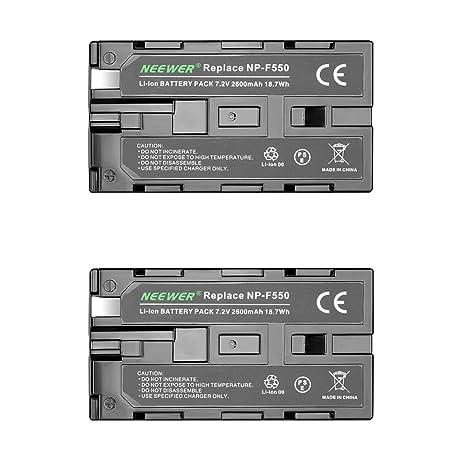 Neewer® - Batería de Repuesto para Sony HandyCams, Neewer Nanguang CN-160, CN-216, CN-126 y Otras Luces LED de vídeo en cámara Que utilizan NP-F550 (2 ...