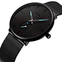 Affute Fashion Minimalist Quartz Analogue Mens Watches with Black Milanese Mesh Stainless Steel Strap Waterproof Ultra Thin Wrist Watch in Black Face and Sub Dial