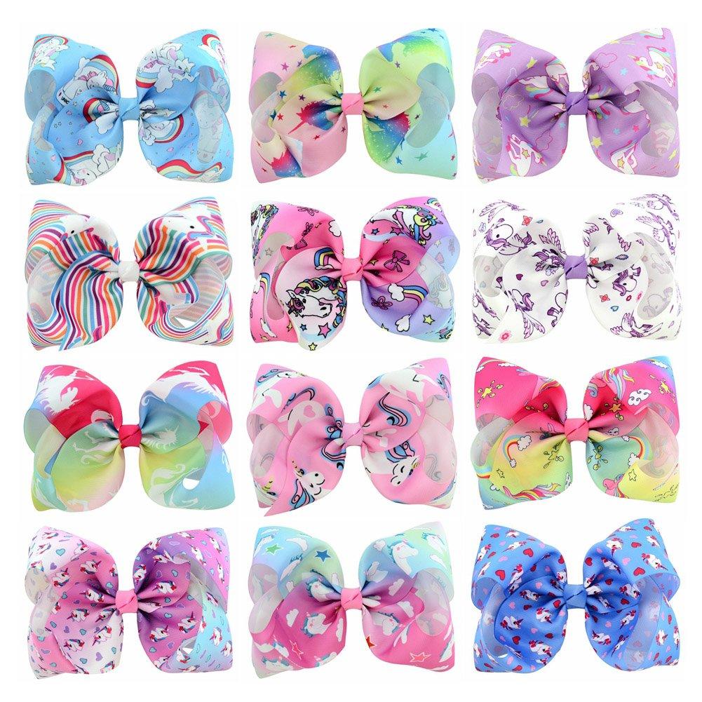 12pcs 8 inch Rainbow Unicorn Baby Girls Hair Bow Clips Hair Pins