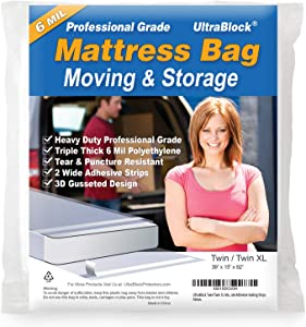 UltraBlock Mattress Bag for Moving, Storage or Disposal - Twin/Twin XL Size Heavy Duty Triple Thick 6 Mil Tear and Puncture Resistant Bag with Two Extra Wide Adhesive Strips