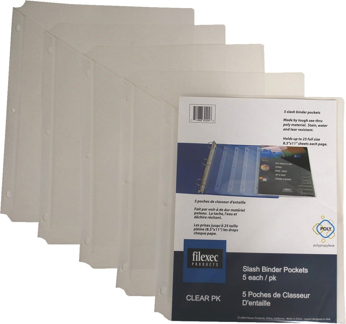 Filexec Binder Pocket, 3-Hole Punched, Letter Size,Clear (6 Packs of 5) (50106-30204)