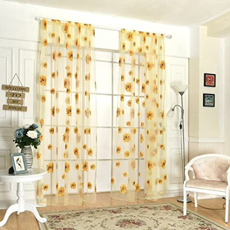 Stars Tulle Voile Window Tassel Curtain Drape Panel Sheer Curtains Decor s//