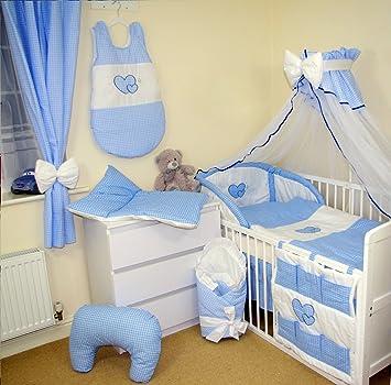 juego de ropa de cama piezas para cuna xcm cuadritos azul