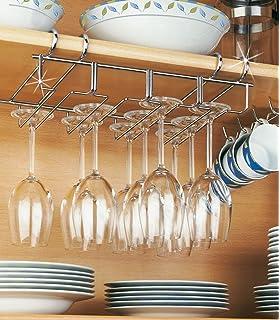 Under Shelf Stemware Wine Glass Holder Storage Rack Hanger Stainless Steel