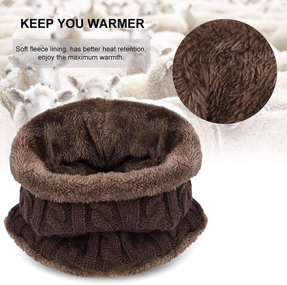 VBIGER Kids Warm Knitted Beanie Hat and Circle Scarf Set