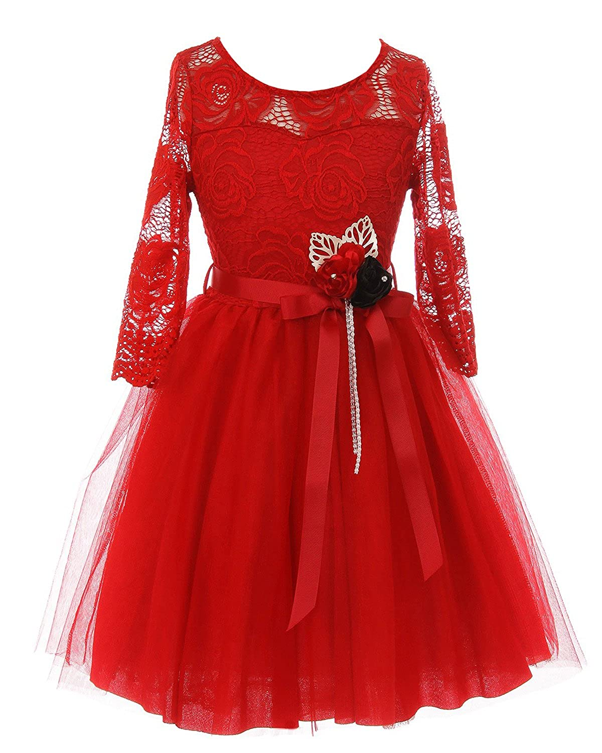a2b59b352e 3 4 Sleeve Floral Lace Christmas Holiday Flower Girl dress. Content  100%  polyester. T length dress