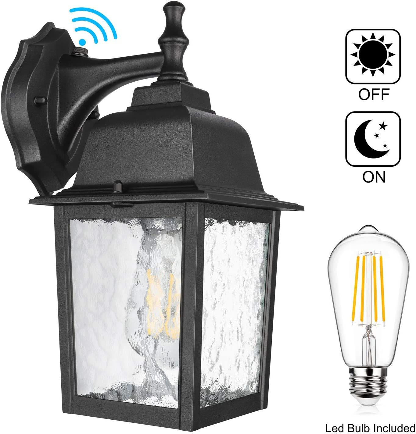 Dusk to Dawn Sensor Outdoor Wall Lantern Waterproof Exterior Wall Mount Lights, E26 LED Bulb Included, Anti-Rust Aluminum Matte Black Wall Sconce with Ripples Glass Shade for Garage, Patio, Hallway