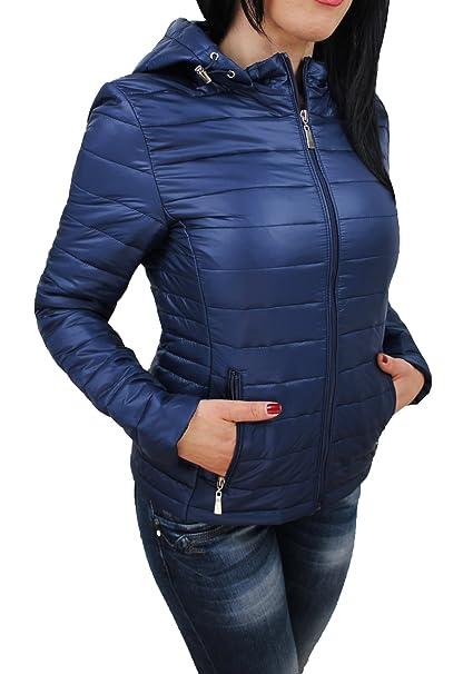 Evoga Giubbotto Piumino Donna Leggero Blu Casual Elegante Giacca 100 Grammi  con Cappuccio  Amazon.it  Abbigliamento e4893947bd4