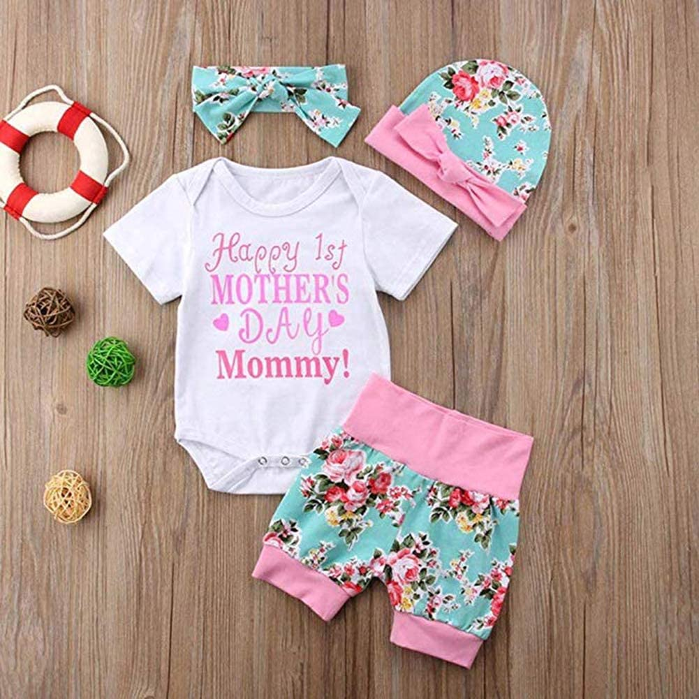 SWNONE 3PCS Short Set Baby Girls Happy 1st Mothers Day Romper Bowknot Hat Short Pant Mommy/'s Day Cute Clothes Set
