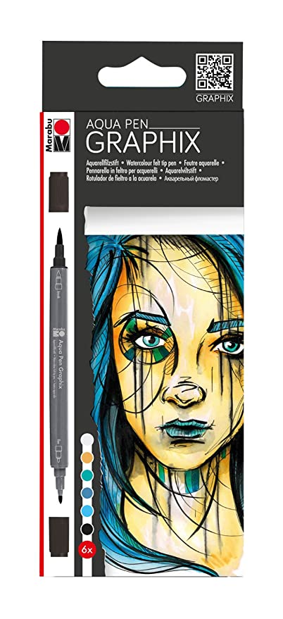MEGA MASH Marabu Aqua Pen Graphix Marker Set Manga Watercolour Drawing 12 Pack