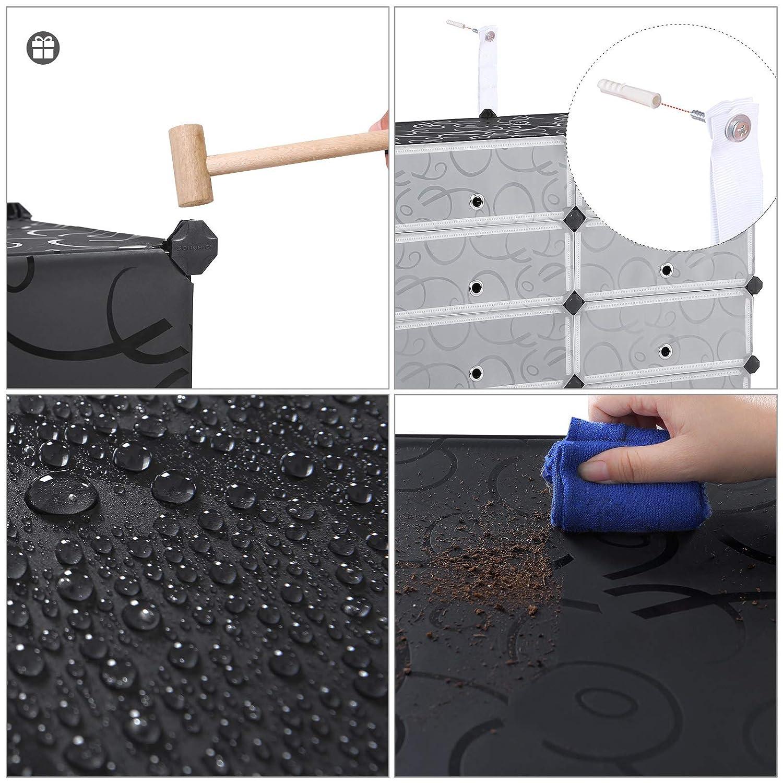 Resistente al Polvo SONGMICS Estanter/ía por M/ódulos 105 x 93 x 36cm Organizador de Zapatos Zapatero con 12 Compartimientos Color Negro LPC26H