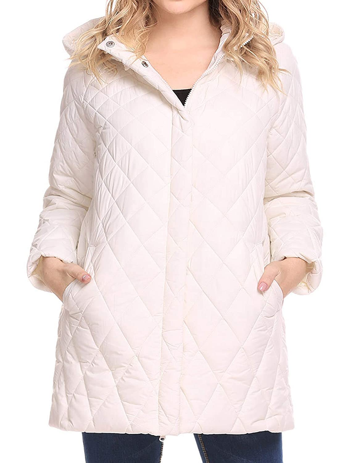 SummerRio Women's Winter Outwear Light Coat Quilted Puffer Parka Jacket w/Detachable Hood,S-XXL