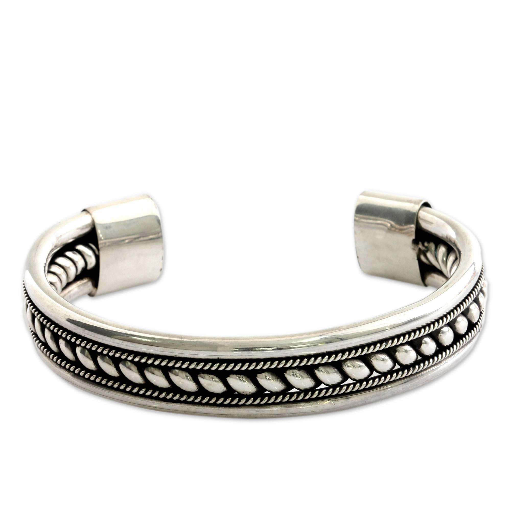 NOVICA .925 Sterling Silver Twist Motif Cuff Bracelet, 6.0'', Strength of Celuk'