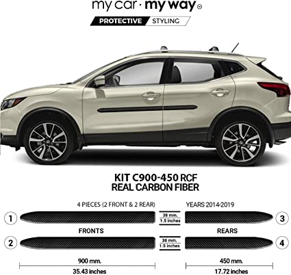Fits Nissan Rogue Sport SUV 2014-2019 Real Carbon Fiber Body Side Molding Cover Trim Door Protector