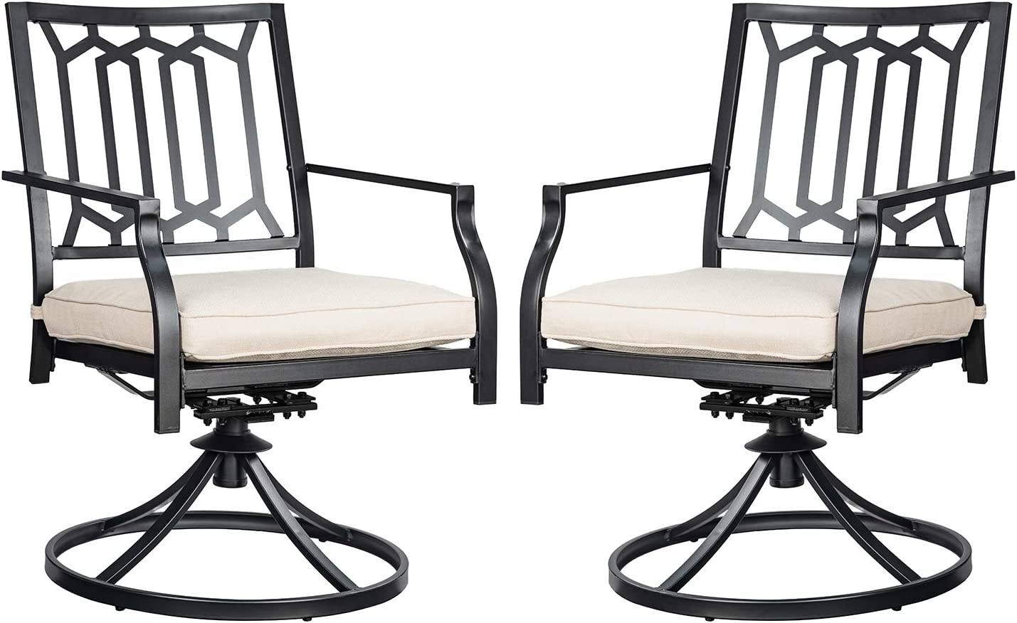 Swivel Patio Chairs Set of 2 Outdoor Metal Dining Rocker Chair for Garden Backyard Bistro Furniture Set with Cushion