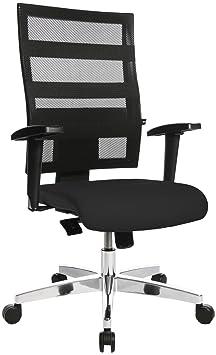 Topstar X-Pander, ergonomischer Bürostuhl, Schreibtischstuhl, inkl. höhenverstellbare Armlehnen, Netzbezug, Bezugsstoff, schw