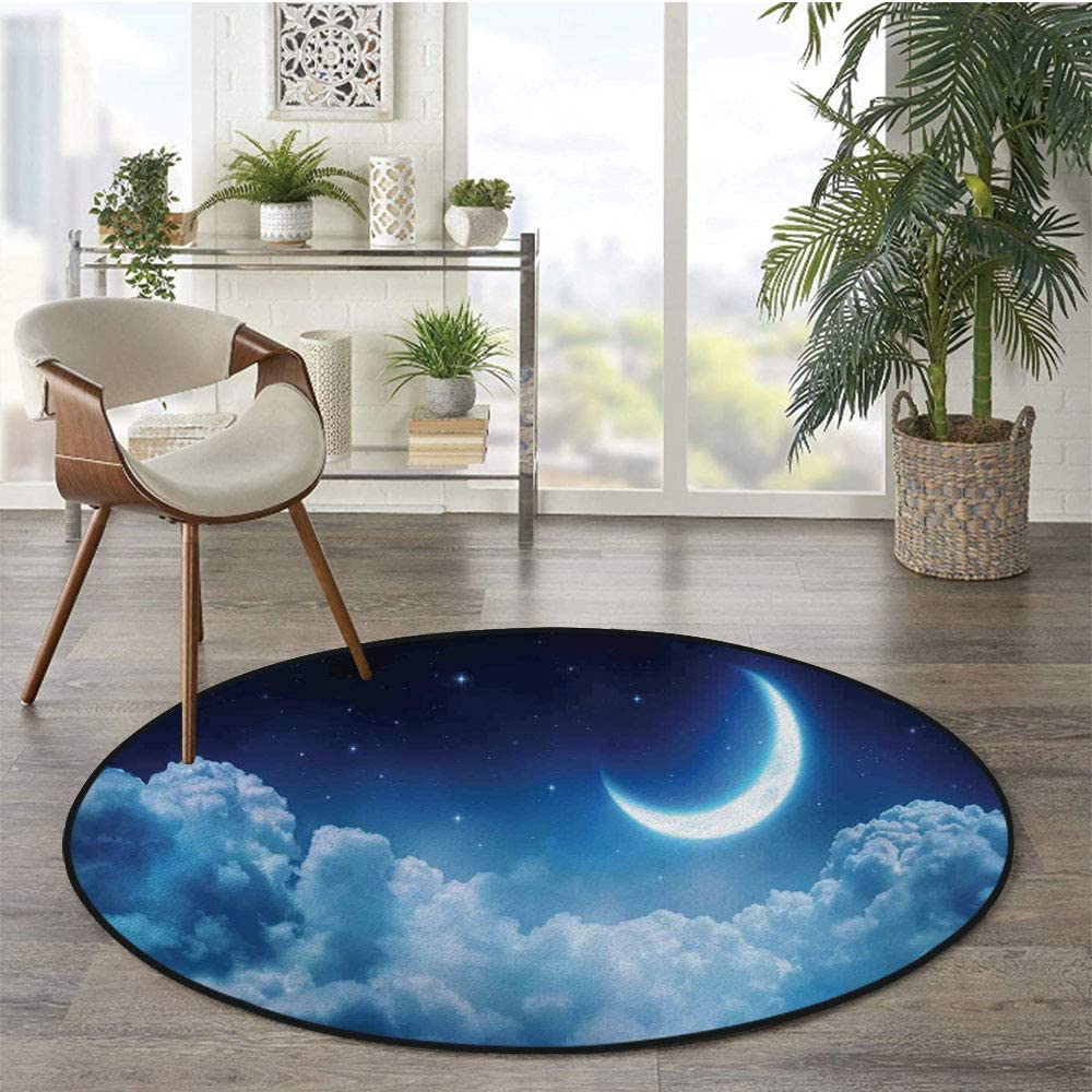 36 x 72 Half Round Door Mat,N Uppercase Letter with Denim Alphabet Font Design Blue Jean Writing System Retro Decorative Outdoor//Indoor Entry Rug,for Home Kitchen Office Standing Desk Mats,Blue Yell