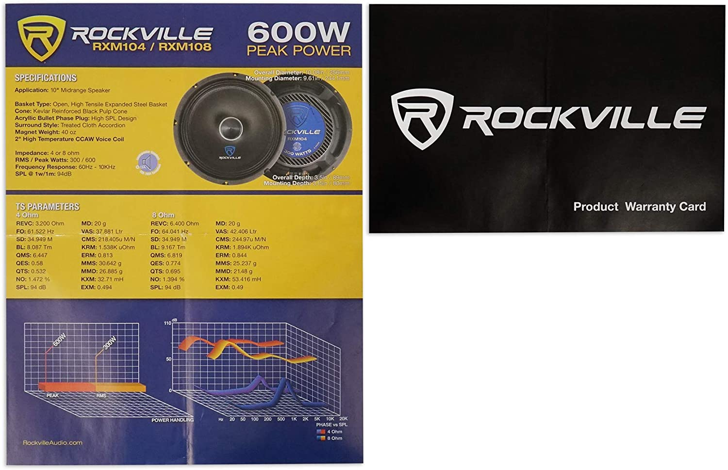 Rockville RXM88 8 250w 8 Ohm Mid-Bass Driver Car Speaker Made w//Kevlar Cone