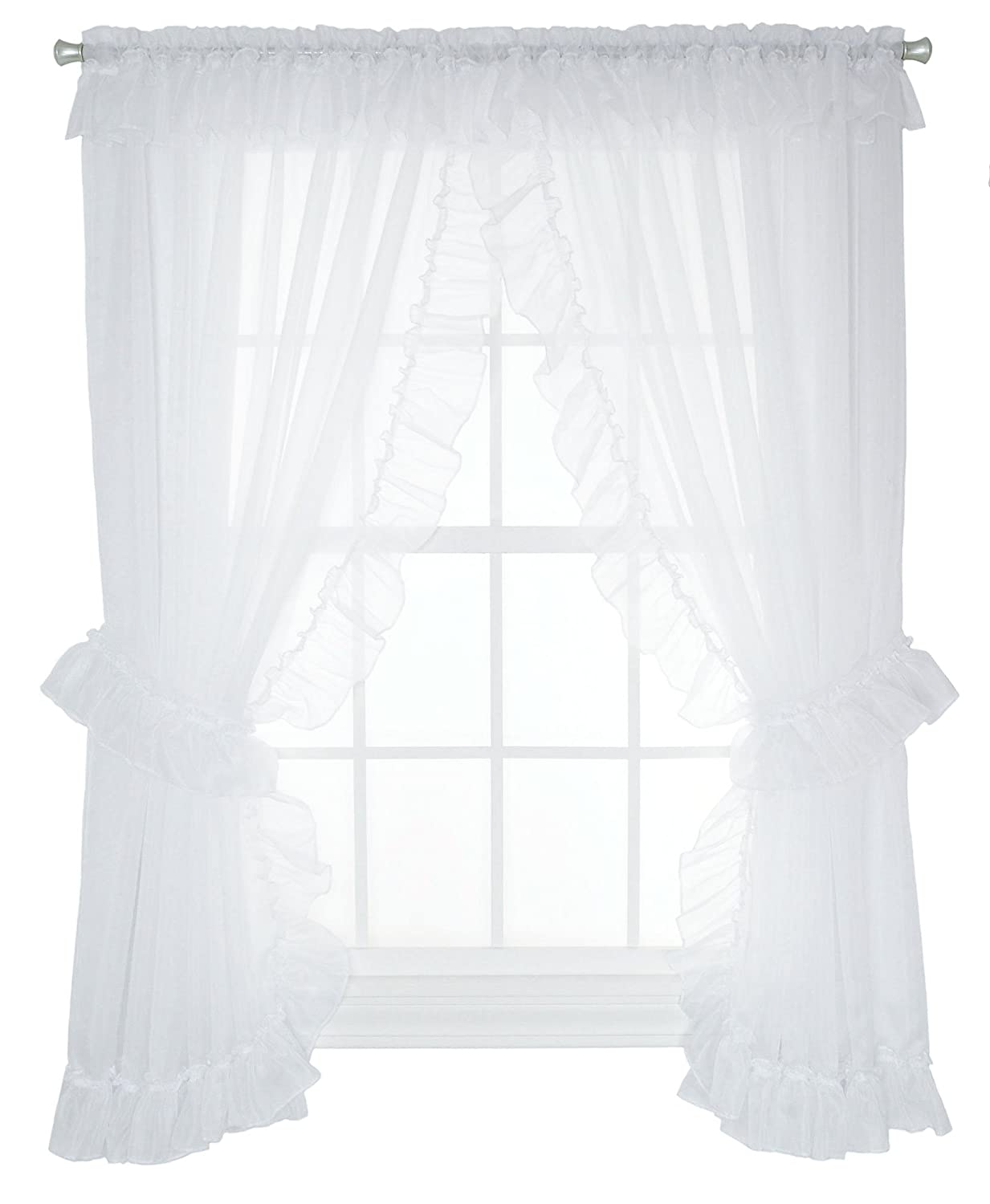 Ellis Curtain Jessica Sheer Ruffled Priscilla Pair Curtains with Ties, 100 by 84-Inch, White