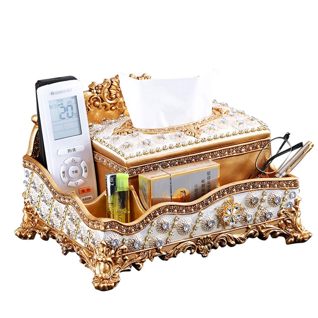 HONGNA European Tissue Box Living Room Coffee Table Household Tray Luxury Home Decoration Multi-Function Remote Control Storage Box Environmentally Friendly Resin 282017cm (Color : Gold)