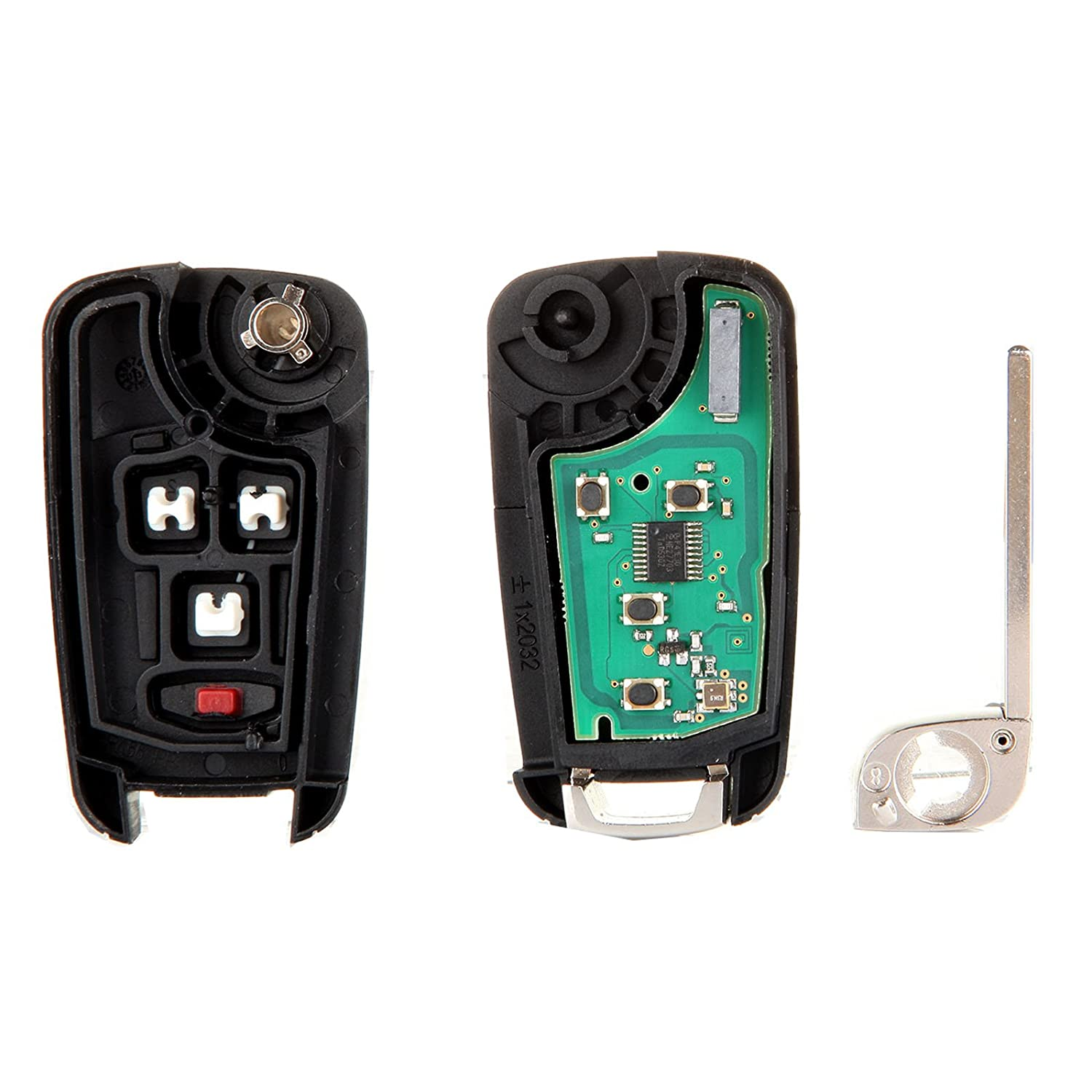 2X New Uncut Replacement Keyless Entry Car Remote Flip Key Fob 4-Button CHEVROLET Camaro Cruze Equinox Malibu OHT01060512 SCITOO Compatible fit for Keyless Entry